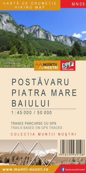 Postavaru, Piatra Mare and Baiului Mountains map